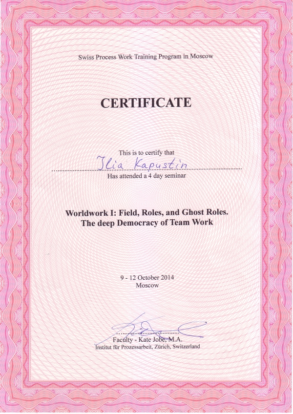 "Certificate of Kapustin Ilya Victorovich ""Worldwork I: Field, Roles and Ghost Roles. The deep Democracy of Team Work"""